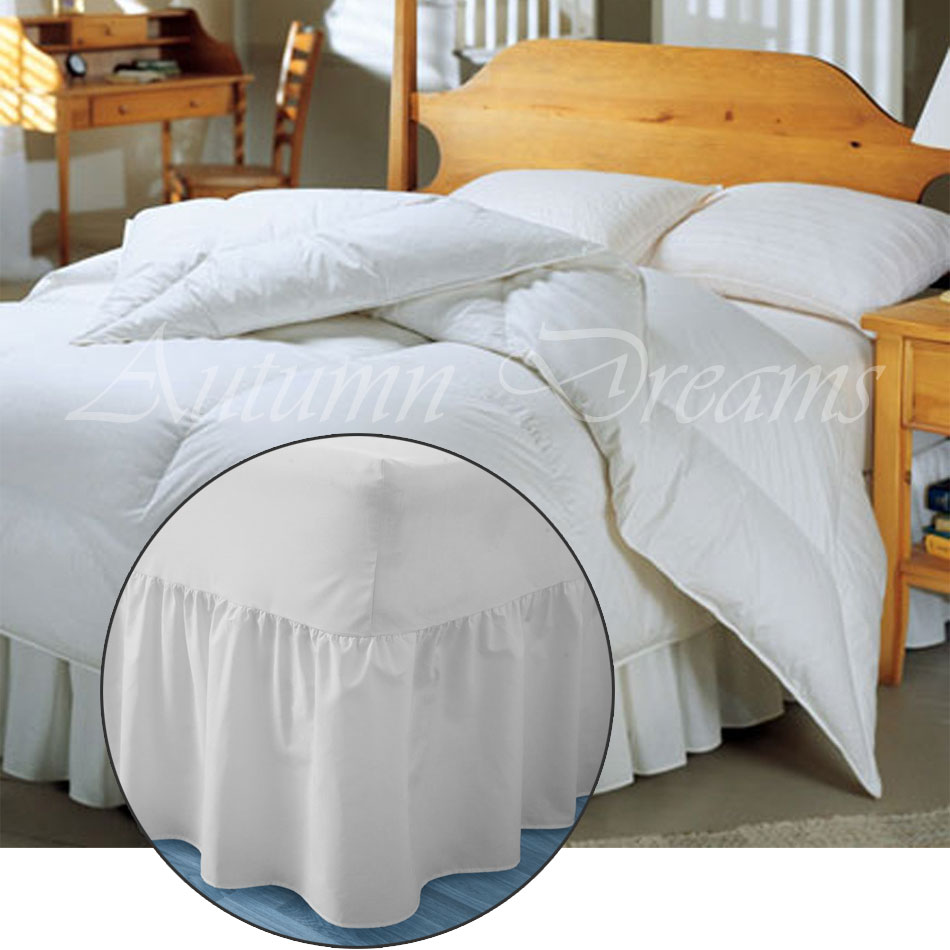 Fitted valance sheet goes over the mattress and base platform valance